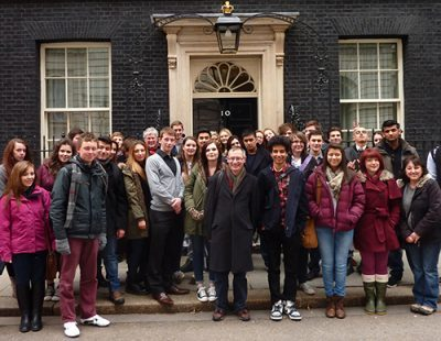 Solihull Politics & Government students stood outside ten Downing Street