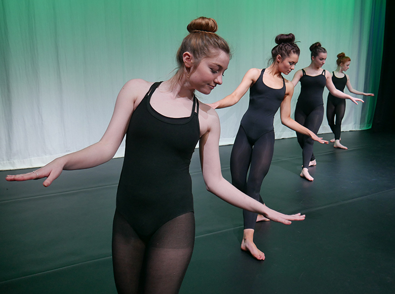 Four dance students performing in the Solihull College Dancers Showcase 2016