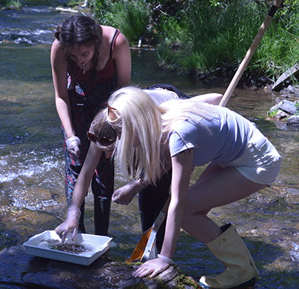 Girls studying rivers on a Geography trip
