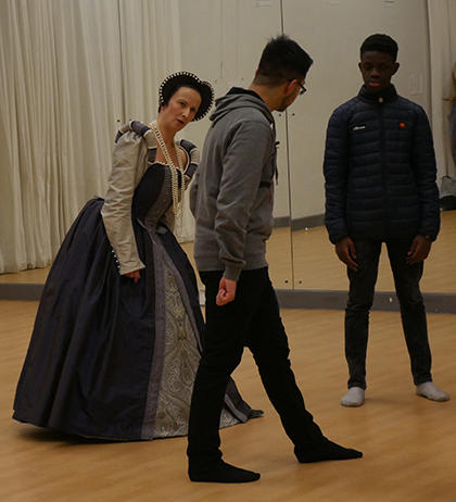 Elizabethan dance lesson for Shakespeare Academy students at Solihull Sixth Form College
