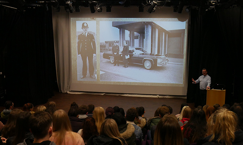 Former police officer Paul Harrison gives a talk to Criminology students
